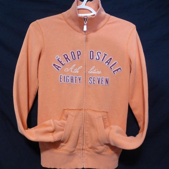 Aeropostale zip sweatshirt with collar, orange, s